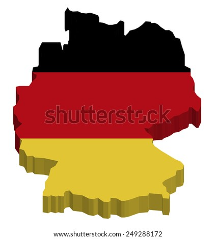 Map of Germany with national flag decor  - stock photo