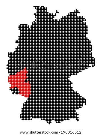 Map of Germany with stylized map of Rhineland-Palatinate made from black and red dots - stock photo