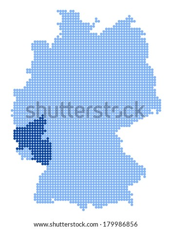 Map of Germany with stylized map of Rhineland-Palatinate made from blue dots - stock photo