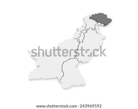 Map of Gilgit-Baltistan. Pakistan. 3d - stock photo