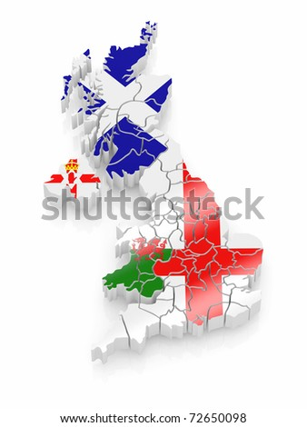 Map of Great Britaine in national flag colors. 3d - stock photo