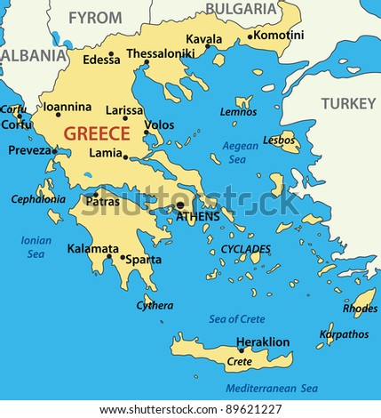 map of Greece - stock photo