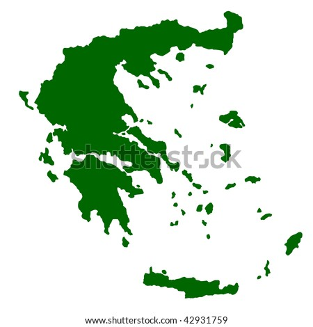 Map of Greece isolated on white background. - stock photo