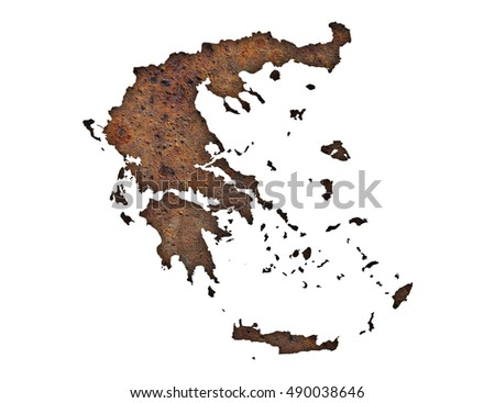 Map of Greece on rusty metal