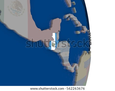 Map of Guatemala with its flag on globe. 3D illustration