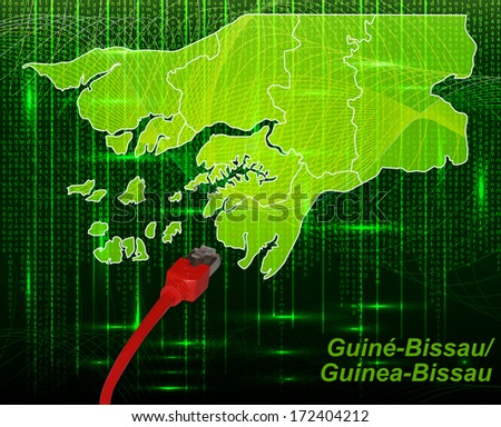 Map of Guinea-Bissau with borders in network design