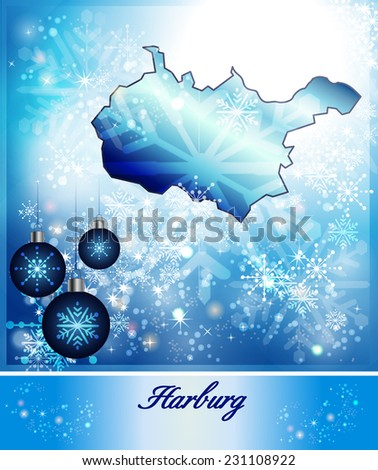 Map of Harburg in Christmas Design in blue