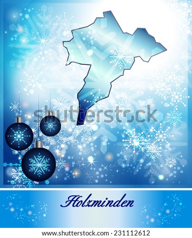 Map of Holzminden in Christmas Design in blue