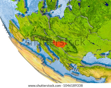 Map hungary red on globe real stock illustration 1046189338 map of hungary in red on globe with real planet surface embossed countries with visible gumiabroncs Gallery