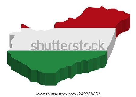 Map of Hungary with national flag decor   - stock photo
