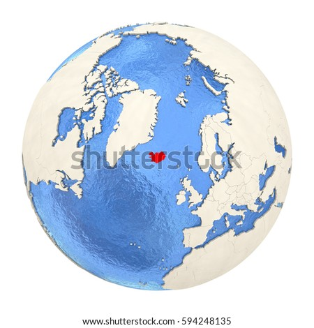 Map iceland on political globe watery stock illustration 594248135 map of iceland on political globe with watery oceans and embossed continents 3d illustration isolated gumiabroncs Images