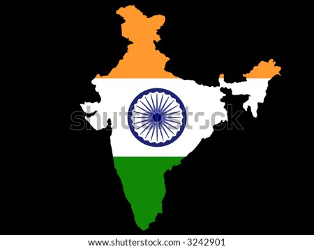 map of India and Indian flag illustration - stock photo