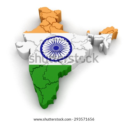 Map of India. Image with clipping path.