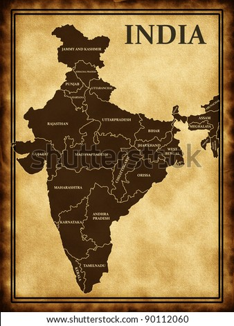 Map of India on the old background - stock photo