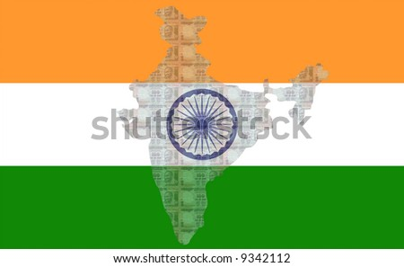 Map of India with 100 rupees notes and Indian flag