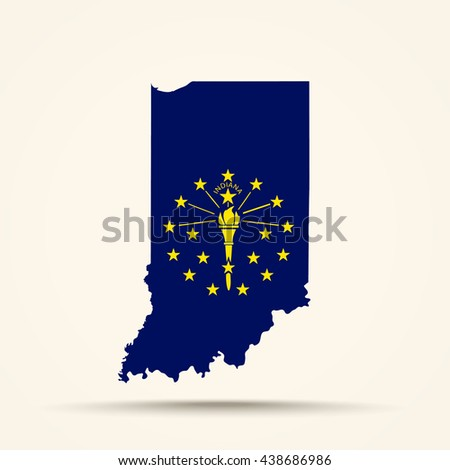 Map of Indiana in Indiana flag colors