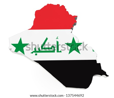 Map of Iraq in Iraq flag colors on a white background