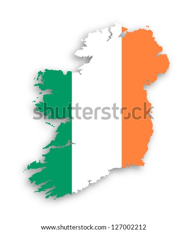 Map of Ireland with flag inside, isolated - stock photo