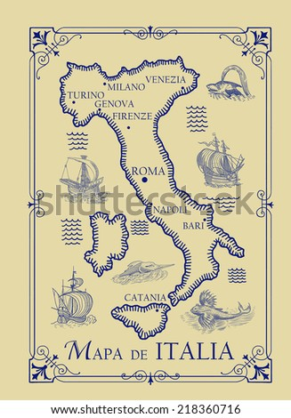 Map of Italy - stock photo