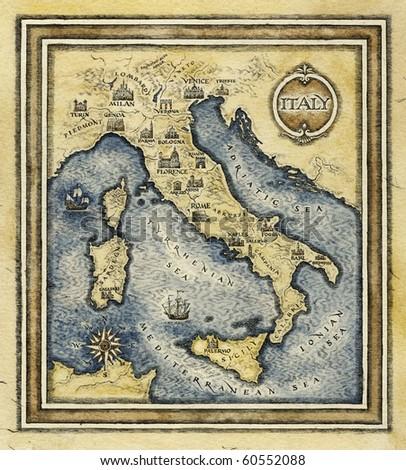 Map of Italy - stock photo