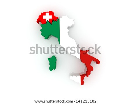 Map of Italy and Switzerland. 3d