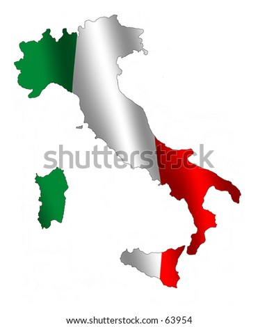 Map of Italy filled with its waving flag - stock photo