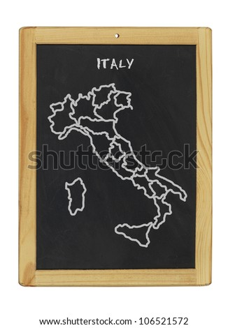 map of italy on a chalkboard
