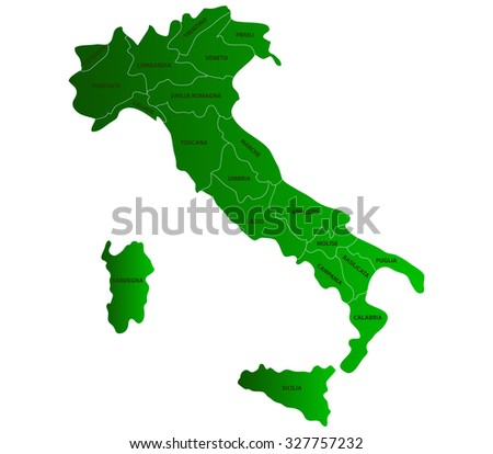 map of Italy on white background