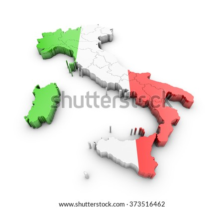 Map of Italy on white background - stock photo