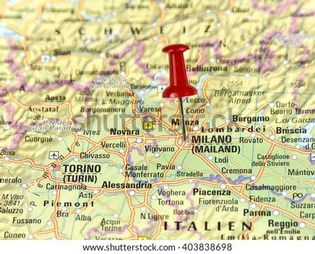 Map Italy Pin Set On Milan Stock Photo Royalty Free 403838698