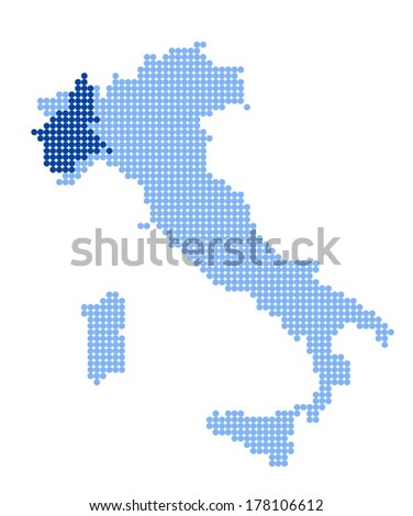 Map of Italy with stylized map of Piedmont made from blue dots