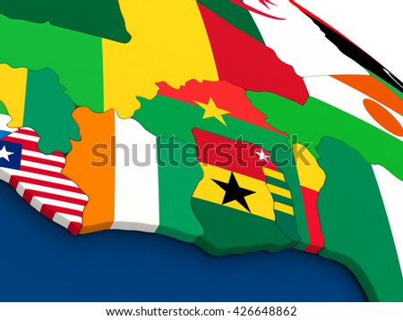 Map of Ivory Coast, Ghana and Burkina Faso on globe with embedded flags of countries. 3D illustration. - stock photo