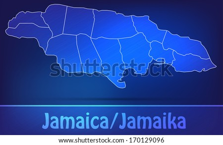 Map of Jamaica with borders as scrible - stock photo