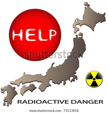 Map of Japan and a sign on radioactive danger - stock photo