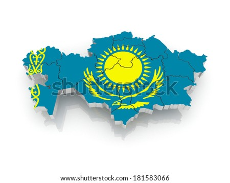 Map of Kazakhstan. 3d