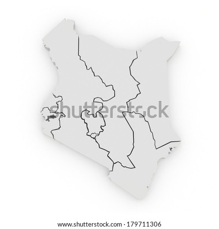 Map of Kenya. 3d