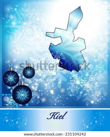 Map of kiel in Christmas Design in blue