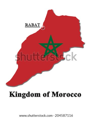 map of Kingdom of Morocco in colors of its flag isolated on white
