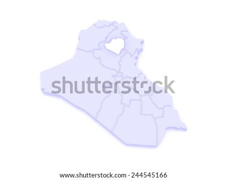 Map of Kirkuk. Iraq. 3d - stock photo