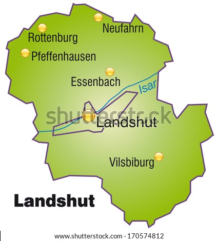 Map of Landshut as an overview map in green