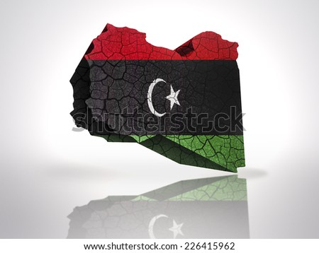 Map of Libya with Libyan Flag on a white background - stock photo