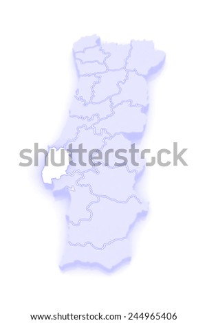 Map of Lisbon. Portugal. 3d - stock photo