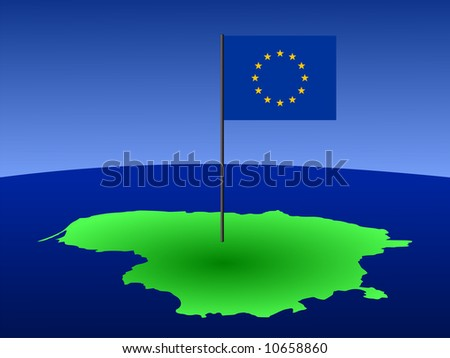 map of Lithuania and European Union flag on pole illustration JPG