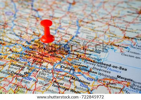 Map London Road Pushpin Stock Photo 722845972 Shutterstock