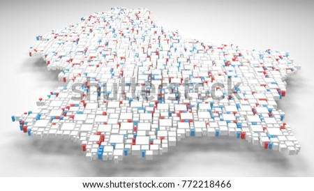 Map of Luxembourg - Europe | 3d Rendering: mosaic of little bricks - Flag colors