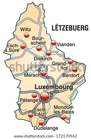 Map of Luxembourg with highways in pastel orange