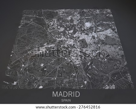 Map of Madrid, Spain, satellite view, map in 3d - stock photo