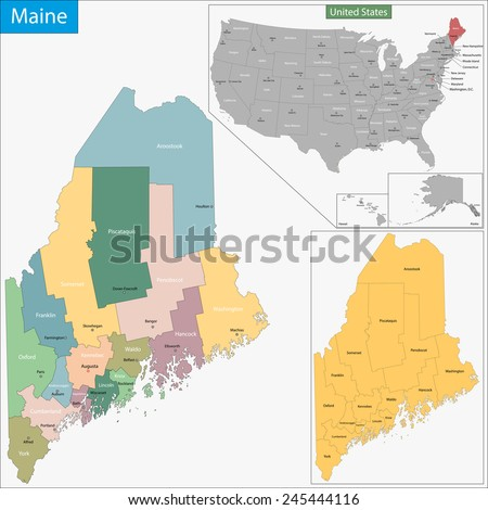 Maine Map Stock Images RoyaltyFree Images Vectors Shutterstock - The map of maine
