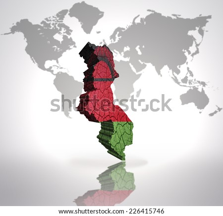 Map of Malawi with Malawi Flag on a world map background - stock photo