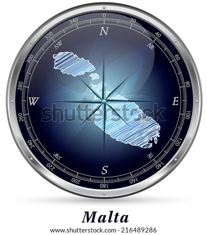 Map of Malta with borders in chrome - stock photo